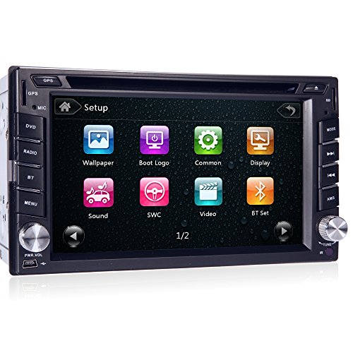 Doppel-DIN-Autoradios in Dash 6.2 Zoll Digital-Bildschirm-Auto Audio-DVD-Spieler Stereoanlage Fernbedienung Autoradio Bluetooth 8GB Auto GPS-Karten-Karte Head Unit USB / SD FM AM Radio Car Player (Dvd Gps Auto)