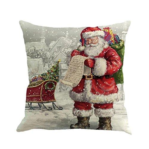 Longra Kissenbezüge 45cm*45cm Baumwolle Leinen Weihnachten Deko Kissenbezug Sofa Bett Auto Home Decor Festival Kissenhülle (H)