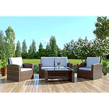 Abreo Brown Rattan Garden Furniture Sofa Set Wicker Weave 4 Seater Patio Conservatory Luxury