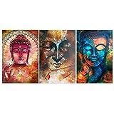 MagiDeal 3 × Wandbilder Kunstdruck Leinwand Bilder für Haus/Wohnzimmer/Schlafzimmer/Restaurant/Kaffeehaus Dekor - Bunter Buddha, 40x60cm