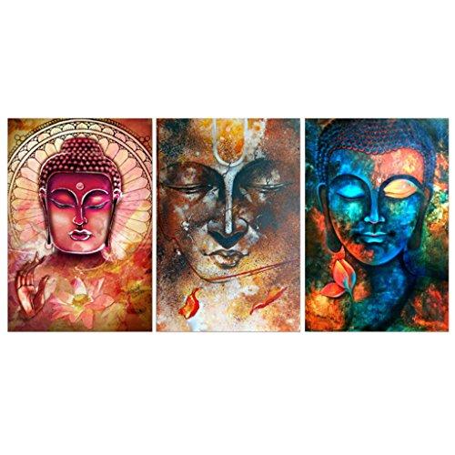 MagiDeal 3 × Wandbilder Kunstdruck Leinwand Bilder Für Haus/Wohnzimmer/Schlafzimmer/Restaurant/Kaffeehaus  Dekor   Bunter Buddha, 40x60cm