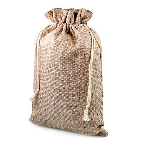 Geschenk-säckchen für Weihnachten, 2 Stück im Set, Jute-säckchen, Jute-sack, Jute-beutel, Stoff-beutel, Natur Säckchen, Sack, Beutel, Größe: XL (29,5 cm x 20,5 cm), Farbe beige/natur, Marke Ganzoo®