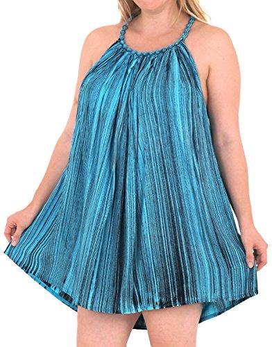 La Leela Rayon tie dye Frauen Beachwear verschleiern Bikinibadebekleidung lässig Kaftan Kleid Navy Blau