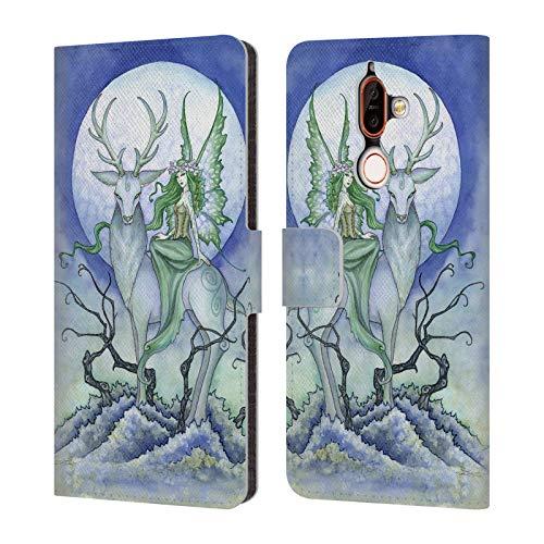 Head Case Designs Offizielle Amy Brown Mitternacht Fee Elementare Feen Leder Brieftaschen Huelle kompatibel mit Nokia 7 Plus
