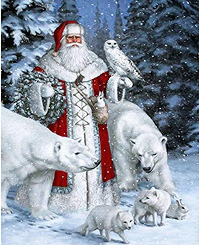 Giunuak DIY 5D Diamant Malerei Volle quadratische Santa Claus Stickerei Kreuzstich Diamond Mosaic Home Decor (Anzüge Kaufen Zu Claus Santa)