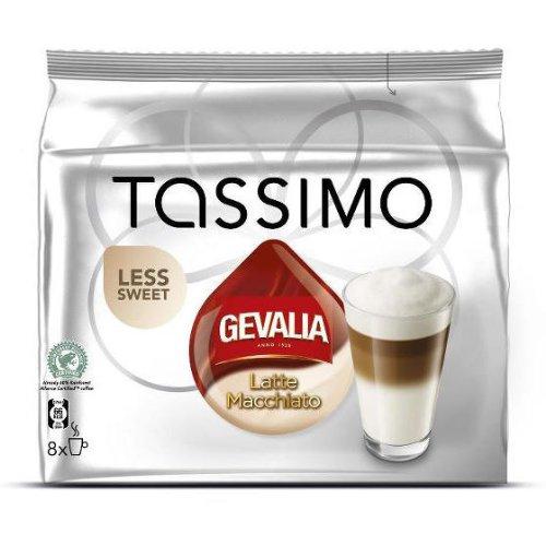 Tassimo Gevalia Latte Macchiato weniger süß, Kaffee, Milchkaffee, Kaffeekapsel, Gemahlen, 16 T-Discs (8 Portionen) Tassimo T-discs Gevalia