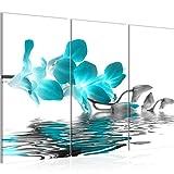 Bilder Blumen Orchidee Wandbild 120 x 80 cm Vlies - Leinwand Bild XXL Format Wandbilder Wohnzimmer Wohnung Deko Kunstdrucke Türkis 3 Teilig - MADE IN GERMANY - Fertig zum Aufhängen 200031b