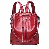 Sac de voyage sac à dos en cuir dame dame grande capacité sac paquet loisirs, 30*15*33cm, rouge