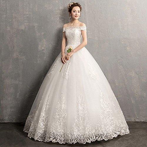 MoMo EIN-Schulter-Hochzeitskleid koreanische Brautkleid Schulter langärmelige Spitze Qi war dünn,Weiß,XL (Brautkleid Koreanisch)