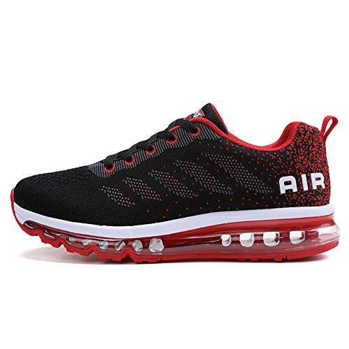 Fexkean Unisex Herren Damen Sneakers Sportschuhe Bequeme Laufschuhe Schnürer Air Running Shoes 35-45(Red44)