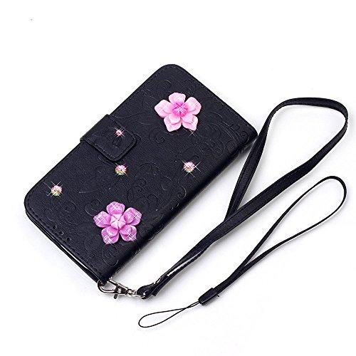 """iPhone 7 Plus Coque Élégant Filles Cuir Portefeuille Etui Rabat Style 3D Rose Fleur Papillon Embossage Serie Case pour Apple iPhone 7 Plus 5.5"""" Noir"""