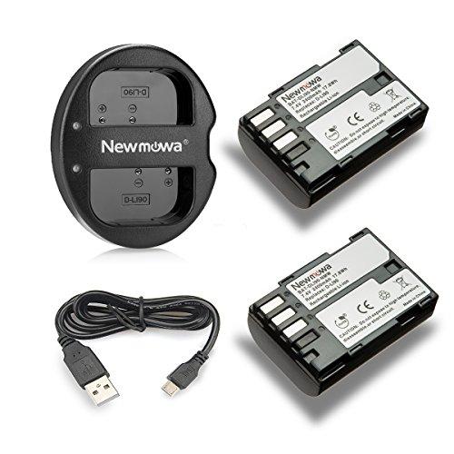 Newmowa Ersatz Akku D-LI90 (2er Pack) und Tragbar Micro USB Ladegerät Kit für Pentax D-LI90 und Pentax 645D, 645Z, K-01, k-1,K-3, K-5, K-5 II, K-5 Iis, K-7 -