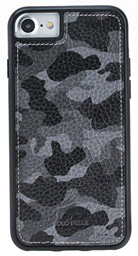 Solo Pelle Iphone 7 / 8 abnehmbare Lederhülle (2in1) inkl. Kartenfächer für das original Iphone 7 / 8 ( Kroko-Rot ohne Öffnung für das Apple Logo ) inkl. Edler Geschenkverpackung Camouflage Grau