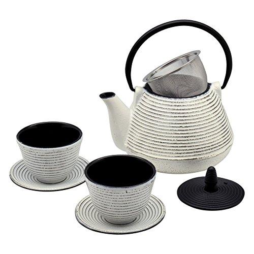 Argon Tableware Tetera japonésa Tetsubin de Hierro fundido set con tetera, tazas y platillos - 1L