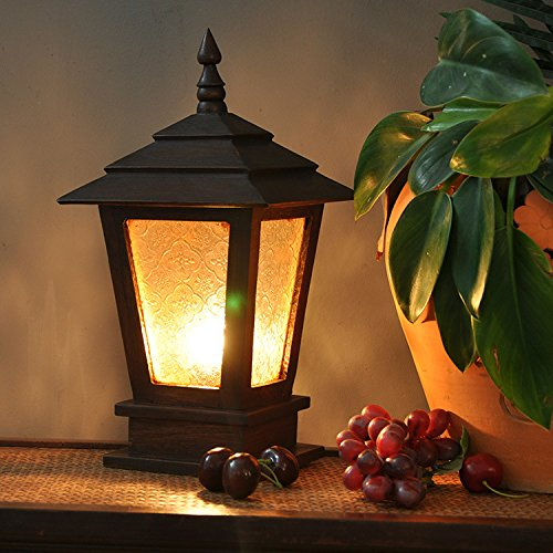 FAYM - Legno Massello Vetro Recinzione Giardino, Giardino Testa Lampade Luci - Bronzo Giardino Recinzione