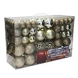 Wohaga® Set de 100 bolas de navidad Ø3/4/6cm plástico champán adornos del árbol de navidad decoración navideña decoración para el abeto