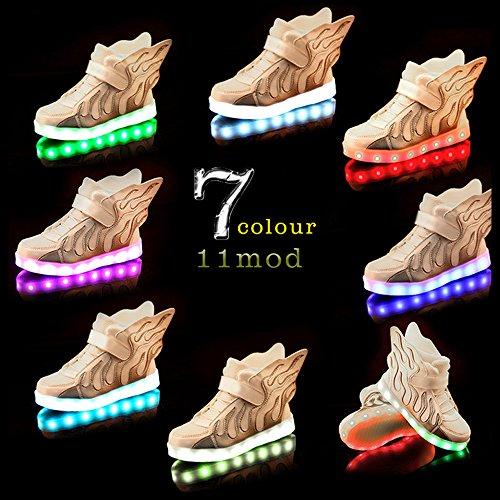 Eastlion Kinder Leuchten Schuhe USB Wiederaufladbare LED Sport Freizeitschuhe Für Kinder Weiß Silber
