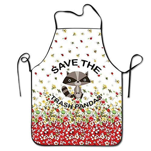 tgyew 2019 Apron Save The Trash Pandas Raccoon Animal Kitchen Cooking BBQ Apron