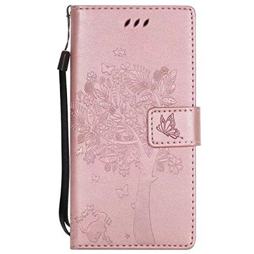 Sony XZ Case, Embossing gepresste Blumen Katze und Baum Muster Solid Color PU-Leder Tasche weichen Silikon-Cover Flip-Stand Geldbörse mit Lanyard für Sony XZ ( Color : 8 , Size : Sony XZ ) 13