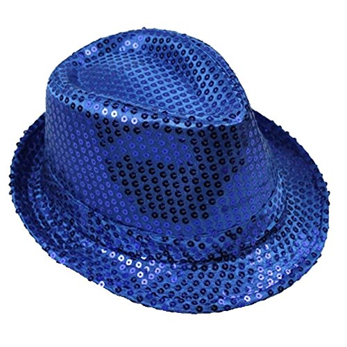 Kind Ara Blau Kostüm (Moolecole Halloween Erwachsene Kinder Universalkopf Sequin Kopf Männer Und Der Frauen Jazz Kappe Stage Performance Hut)