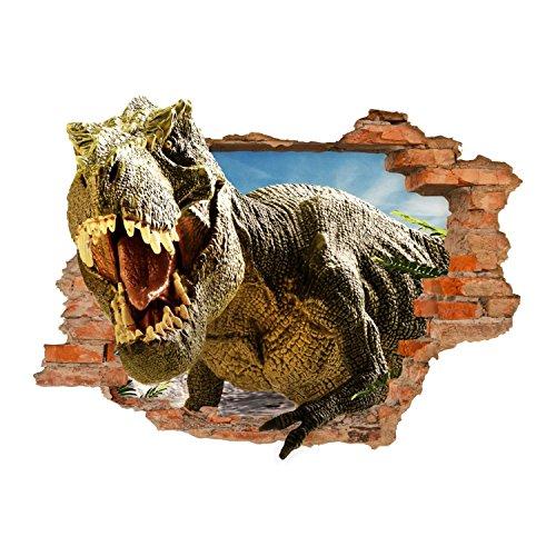 nikima - 116 Wandtattoo T-Rex Dinosaurier Tyrannosaurus Rex - Loch in der Wand - in 6 Größen - Coole Kinderzimmer Sticker Aufkleber Wanddeko Wandbild Junge Teenager - Größe 500 x 350 mm (Rex Größe Tyrannosaurus)