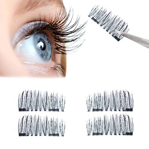 Magnetische falsche Wimpern, wiederverwendbare Wimpern mit Magneten für einen natürlichen Augenaufschlag ohne Kleber, handmade (Set mit 1 Paar/4 Stück) by BLISSANY