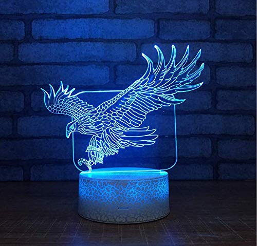 Chandeliercreative Eagle Colorful Led 3D Night Personality Bursting Pattern Base Usb 3D Lamp Gift Special Vision Small Led Night Light (Lampenschirm Eagle)