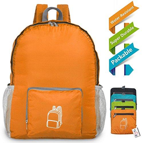 SOOOEC 22L Wasserdichter Ultraleicht Rucksack,Faltbarer Rucksack für Outdoor Wandern Camping Reisen Trekking Nylon kleiner wanderrucksack Orange