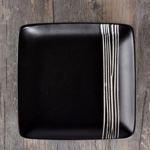 uuouu cerámica platos llanos para carne 8Inch Negro restaurante plato platos cuadrados de estilo occidental