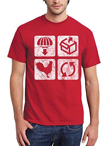 clothinx Herren T-Shirt Drop Loot Winner Winner Chicken Dinner Repeat Rot