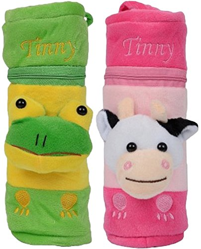 Miss U Baby Soft Velvet Bottle Cover PACK OF 2 (size- 15 cm ) (GREEN PINK)