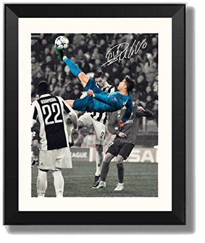 ASENER Cristiano Ronaldo Fotorahmen, Real Madrid Vs Juventus CR7 Unterzeichnet Autogrammdruck Bild Gerahmt,10Inch (Champions-rahmen)
