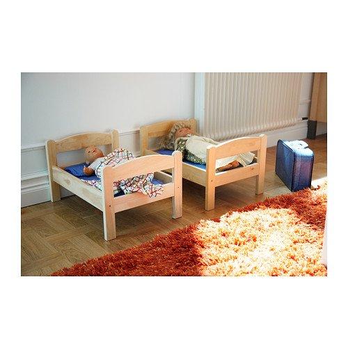 IKEA - muñeca-S DUKTIG con juego de cama de la cama, pino, Multicolor