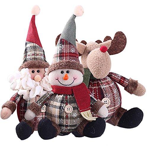 Bulary 3 stücke Cartoon Weihnachtsmann Schneemann Rentier Spielzeug Dekoration Weihnachten Gefüllte Puppe für Home Party Weihnachten Dekoration