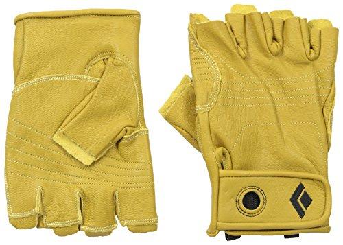 Black Diamond Stone Handschuhe Zum Klettern & Sichern/Langlebiger 3/4- Fingerhandschuh aus Hochwertigem Leder mit Klettverschluss/Unisex, Natural, Größe: S