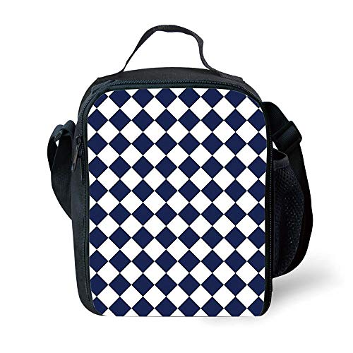 MLNHY School Supplies Blue,Classical Old Fashioned Checkered Pattern Geometric Diagonal Skewed Squares,Navy Blue and White for Girls or Boys Washable