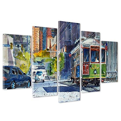 ConKrea Krea Quadro auf Leinwand Canvas - gerahmt - zum Aufhängen - Chicago - WasserIllustrationen - Tram Metropole USA Dimensione: 170x86cm