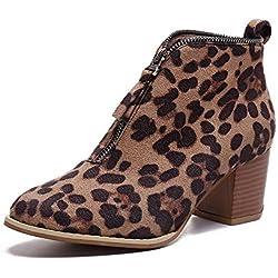 Botines Para Mujer,Beikoard Mujeres Zapatos De Moda Tobillo Sólido Leopardo Cremallera Shoes Botín Botas Cortas,SóLido Leopardo-Print V-Zip Tacones Gruesos Botines