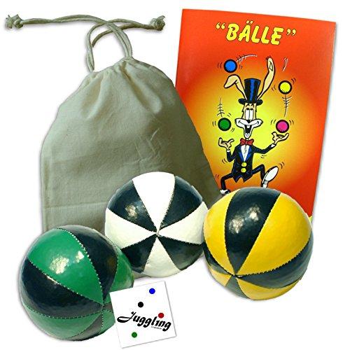 3er Set Jonglierbälle: Bälle, Beutel, Anfänger Jonglier Lernfibel, Fan Sticker / Grün-Gelb-Weiß