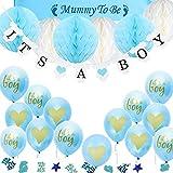 TopDeko Babyparty Deko Jungen, Baby Junge Deko Baby Shower Boy Deko mit It's A Boy Girlande, 6pcs Wabenbälle, Mummy to Be Schärpe, Konfetti Babyparty, 15pcs Luftballons für Baby Shower