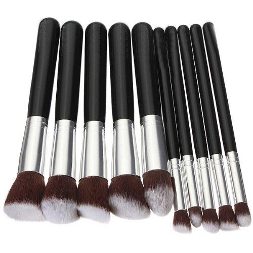 10pcs Pinceaux Cosmetique Trousse Maquillage Set Brush Brosse Ombre Fard Teint Noir Argent