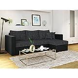 OSKAR Ecksofa mit Schlaffunktion Grau Schwarz - Stellmaß: 224 x 144 cm Liegemaß: 200 x 140 cm - Sofa Couch Schlafcouch Schlafsofa Eckcouch Vergleich