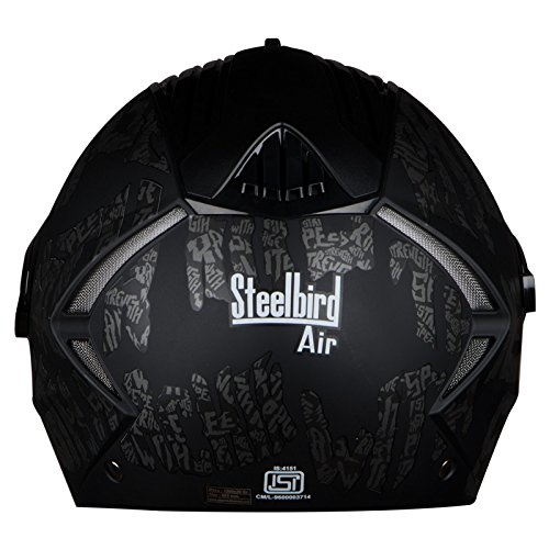Steelbird SBA-2 Strength Stylish bike full face helmet with free transparent Visor for night vision (600MM, Black with Grey - Silver Mirror Visor)