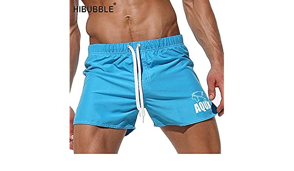 c6e56ca59f95d Swim INF HIBUBBLE Solid Swimwears Men Gay Swimsuits Hot Mens Swimwear Surf  Trunk Men Swimming Trunks Bath Suit Beach Shorts Pocket: Amazon.in:  Clothing & ...