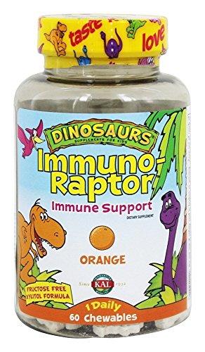 Kal - supporto immunitario Immuno-Raptor di dinosauri per bambini Orange - 60 compresse (Immunitario Salute Masticabili)