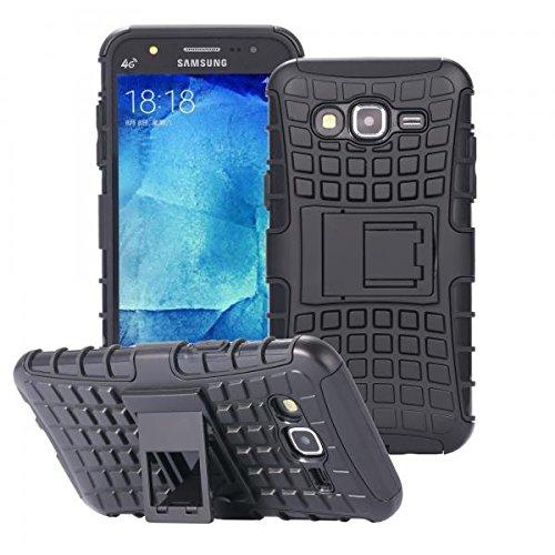 ECENCE Handyhülle Schutzhülle Outdoor Case Cover + Panzerfolie kompatibel für Samsung Galaxy J5 (2015) Handytasche Schwarz 43010205