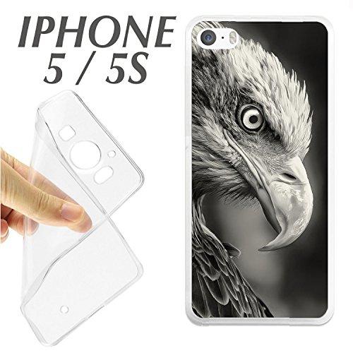 SA + Protector DE Cristal (OPCIONAL) iPhone 5 5S Foto Aguila PERFIL IMPACTANTE Pajaro Blanco Y Negro J342 - CARCASA+Protector ()