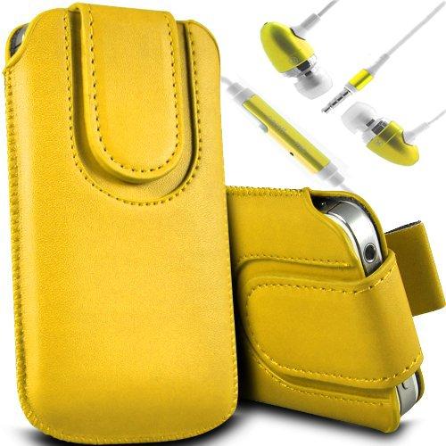 Vert/Green - LG L60 X145 & LG L60 Dual X147 Housse et étui de protection en cuir PU de qualité supérieure à cordon avec fermeture par bouton magnétique et écouteurs intra-auriculaires de 3,5 mm assort Yellow & Ear Phone