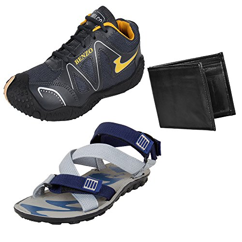 Bersache Men Combo Pack of 3 Sports.Shoes With Sandal & Wallet (10 UK)