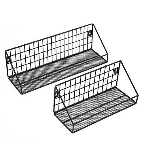 SONGMICS Wandregale im Industrie-Design, aus Metall, pro Regal bis 15 kg belastbar, 2er Set, Küchenregale, mit 10 Haken, für Schlafzimmer und Wohnzimmer, schwarz LFS02BK